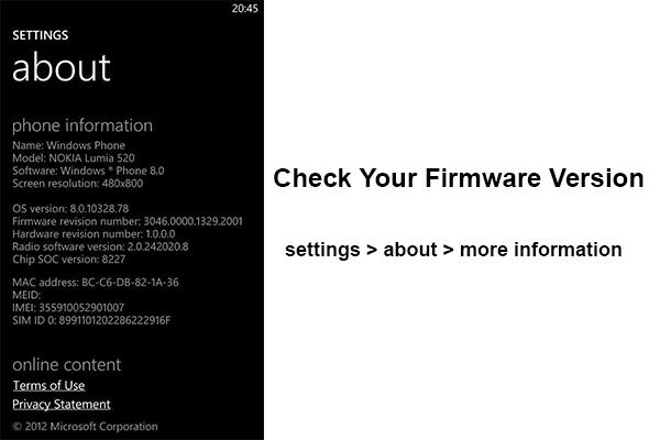 lumia version check